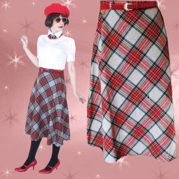 Vintage Wool Tartan Plaid Skirt - 1960s Skirt & Original Red Belt - M