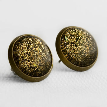 Golden Bronze Post Earrings in Antique Bronze - Gold Amber Black Glitter Stud Earrings