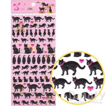 Black Kitty Cat Silhouette Shaped Puffy Stickers with Hearts