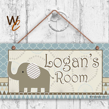 "Nursery Sign, Elephant Boys Room Sign, Blues and Browns Personalized Sign, Kid's Name, Door Sign, Nursery Art, 5"" x 10"" Sign, Made To Order"