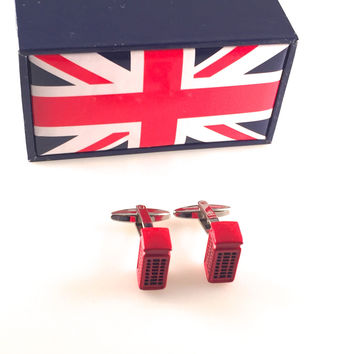 UK Phone Booth Cuff Links, Red Telephone Box Cufflinks, Phone Booth Cufflinks, Wedding Cuff Links, Father's Day, Graduation Gift