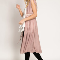 Dusty Rose Lace Sleeveless Duster