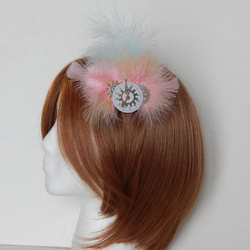 Pastel Steampunk Clockwork and Gears Feather Fascinator, Hair Clip or Hat Pin