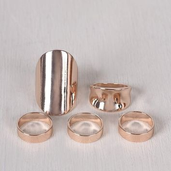 Simple Polished Band Ring Set