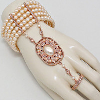 1920's Flapper Great Gatsby Inspired Rose Gold Peach Big Pearl Hand Chain Bracelet, Ring Bracelet, Finger Bracelet, Hand Chain Jewelry