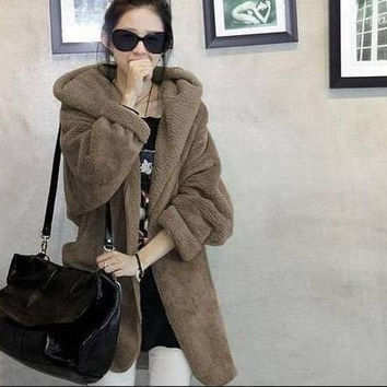 2016 Korean Winter Fur Thick Warm Medium-long Hooded Women Plush Coat Free Size Lady Brief Cloak Overcoat Wool Jacket