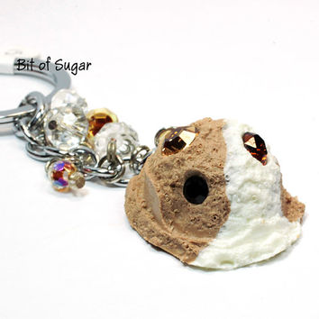 Chocolate Ice Cream Scoop Charm Keychain - Kawaii cute miniature sweet keyring - fake food accessories