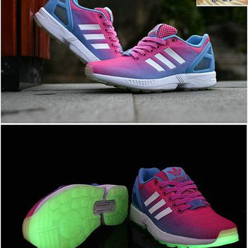 2018 Genuine adidas ZX Flux Hyper Pink to Blue Gradient White Glow in the dark sneaker