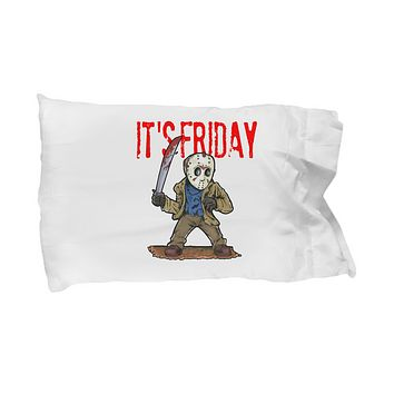 It's Friday Funny Halloween Character Jason Mask Pillow Case