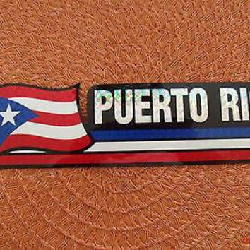 Bandera Puerto Rico Flag Reflective Sticker Coated Finish Decal 12x2/12