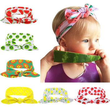 Kids Girls Rabbit Ears Hairband Turban Bowknot Headwrap Hairband Cotton 67*5cm flowr bow knot girl fashion Hair band