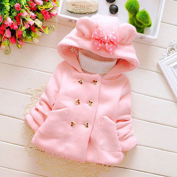 New Style 2016 Minnie Double-breasted Baby Kids Clothing Cute Hooded Bow Keep Warm Infant Girls Children's Vest Winter Outerwear