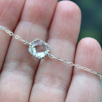 Dainty Silver Crystal Bracelet Clear Bracelet Crystal Jewelry Bridesmaid Bracelet - Crystal Clear Wedding Jewelry - Bridal Bracelet