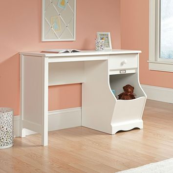 White Desk For Children With Storage Bin