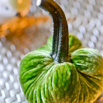 1 Mini Leaf Green Silk Velvet Pumpkin, Fall Decor, Table Centerpiece, Homemade Rustic Decoration