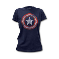 Captain America Distressed Shield Womens T-Shirt