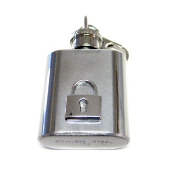 1 Oz. Stainless Steel Key Chain Flask with Lock Key Pendant