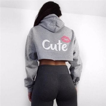 Fashion Casual Women Tops cropped hoodies sweatshirt Jumper Gray cute mouse pattern Girl Sporting Pullovers Black Pink Clothing