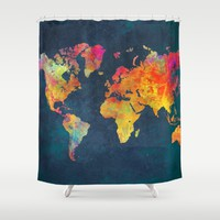 World Map blue Shower Curtain by Jbjart