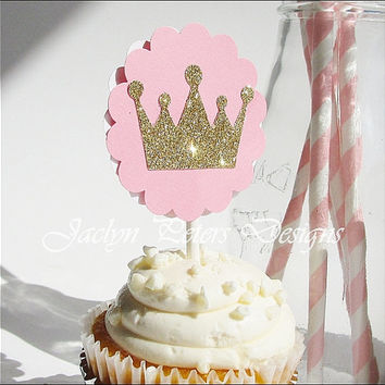 Cupcake Toppers, Pink And Gold, Princess Theme, Glitter Crown, Girls Baby Shower, First Birthday, Party Decorations, Dessert Bar, Set Of 12