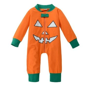 Newborn Baby Girl boys Romper pumpkin print Play suit Pants Outfit Set long sleeve zipper Rompers for baby girls for Halloween