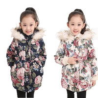 Girls Warm Fur Collar Coat Baby Winter Long Sleeve Flower Hooded Jacket Children Cotton-padded clothes Kids Christmas Outwear = 1931506308