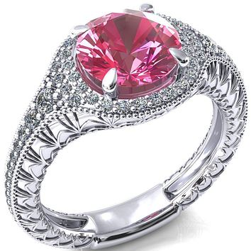 Kylee Round Pink Sapphire Accent Diamond Milgrain and Filigree Design 4 Prong Engagement Ring