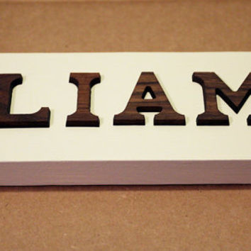 Personalized Linen White Wooden Name or Word Sign