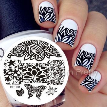 1pc  Nail Designs stickers a decals stamping plate
