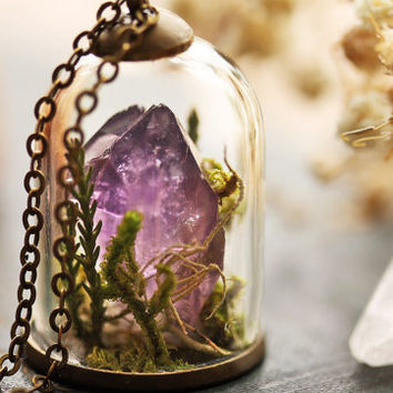 Terrarium necklace , amethyst crystal, February birthstone , moss terrarium , bell jar pendant , real plant jewellery , gift from Ireland