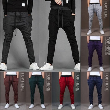 New 2014 Mens Joggers Fashion Harem Pants Trousers Hip Hop Slim Fit Sweatpants Men for Jogging Dance 8 Colors sport pants M~XXL [9221784068]