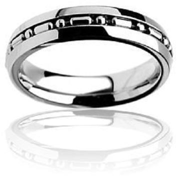 Stainless Steel Ball Chain Inlay Ring | Overstock.com