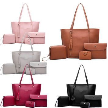 Leather 4 piece shoulder bag with huge tote ~ 5 colors!