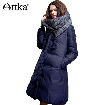 ARTKA Winter Jacket Women 90% Duck Down Coat Warm Parka Female Long Down Jacket Quilted Coat With Removable Scarf ZK15357D