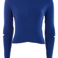Spliced Elbow Knitted Top - Tops - Clothing