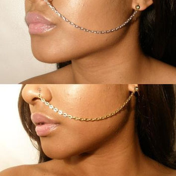 2 Chains Gold & silver Ear to Nose chain jewelry ( The Weeknd )