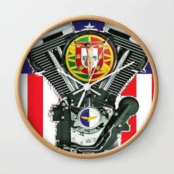 Luso-American Motorcycle Patriot. Wall Clock by Tony Silveira