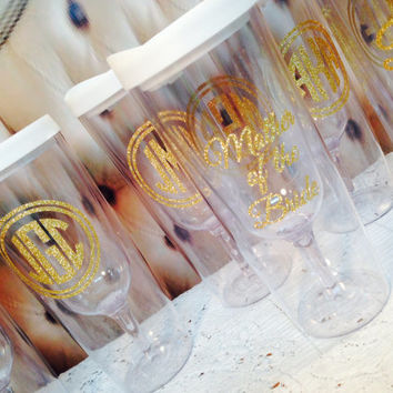 6 14oz Acrylic V2G Vino2Go Tumblers Personalized 2sides - Beautiful Glitter bridesmaid keep sakes gifts  Wedding  Gifts Unique Wedding favor