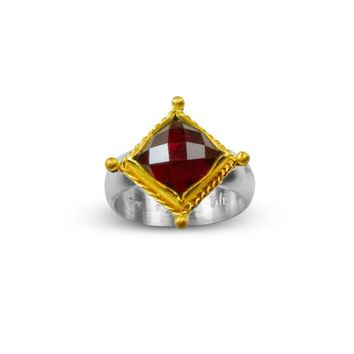 ALL NEW Renaissance Ring in Rose Cut Garnet and 22K Gold