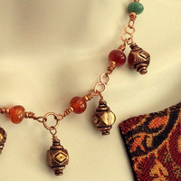 Bohemian Gemstone and Copper Necklace and Earring set, Agate stone necklace,minimalist style,Women's Jewelry