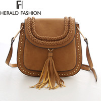 Tassel Women Saddle Bags Rivet Messenger Bags Scrub Weave Shoulder Bags Small Cross Body Handbags Herald Fashion New