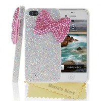 Mavis's Diary 3D Handmade Stylish Shiny Big Pink Bow Bling Silver Back Case Cover with Soft Clean Cloth (Apple Iphone 4 4S)