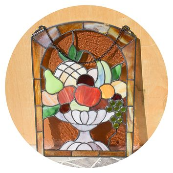 Vintage Leaded Stained Glass Window Hanging Vegetable Bowl 13.5 x 9.5