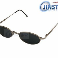 High Quality Sunglasses Silver Frame Black Dark Tinted Oval Lens UV400 CL003