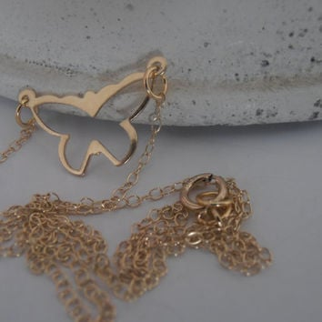 Gold Filled Necklace, Pendant, Minimalist, Butterfly 14/20K, Charm Necklace, for modern layering or minimalist wear