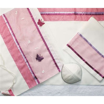 Pink Butterfly Applique Tallit Set