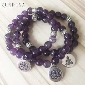 8mm Natural Purple Uruguay Amethyst  Bead Bracelet - 7th Crown Chakra