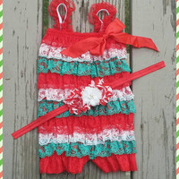 Baby Girl Christmas Outfit - Romper - Headband - Lace - Holiday - Photos -  My First Christmas - Red, white, green - Candy Cane