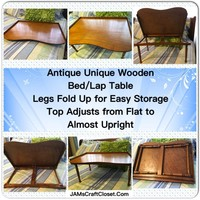 Desk Lap Bed Vintage Wooden With Foldable Legs Adjustable Top Unique Design Collectible Rare