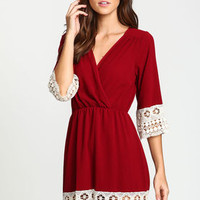 Embroidered Crochet Wrap Dress - LoveCulture